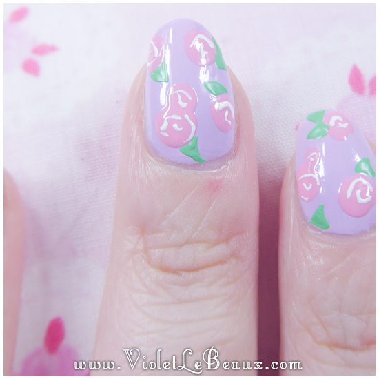 How To Create Simple Rose Print Nail Art | Violet LeBeaux ...