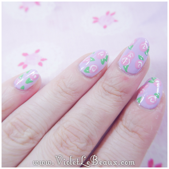 How To Create Simple Rose Print Nail Art