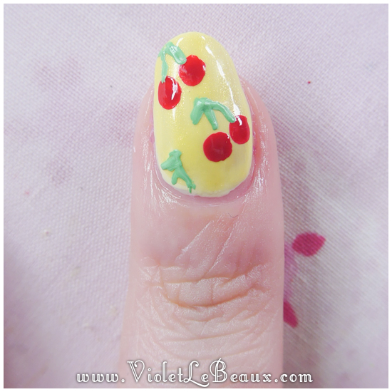 07 how to rockabilly cherry nail art Easy Cherry Print Nail Art Tutorial