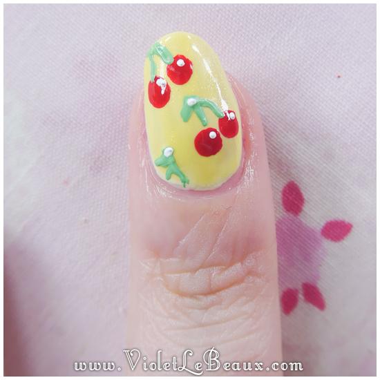 08 how to rockabilly cherry nail art Easy Cherry Print Nail Art Tutorial