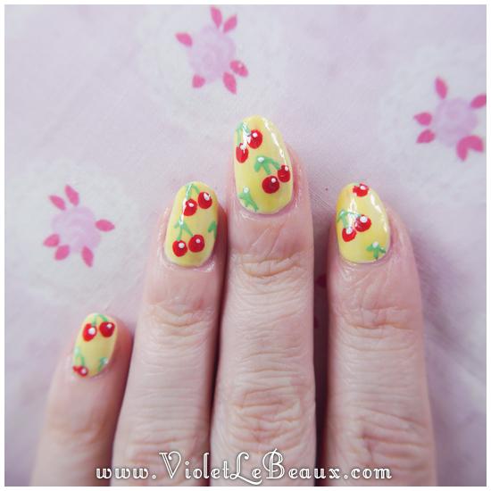 09 how to rockabilly cherry nail art Easy Cherry Print Nail Art Tutorial