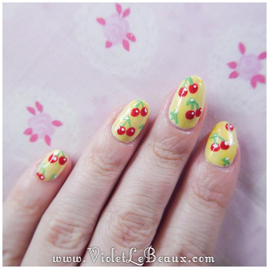 11 how to rockabilly cherry nail art Easy Cherry Print Nail Art Tutorial