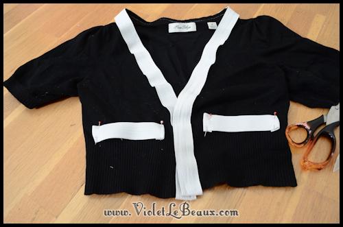 diy chanel style cardigan violetlebeaux 0848 Black Chanel Style Cardigan Make Over