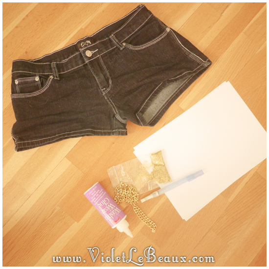 00 glitter jeans shorts DIY Glitter Jeans Shorts Tutorial