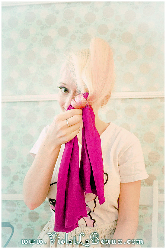 03 stockings for waves hairstyle tutorial violet lebeaux How To Get Hair Waves Using Stockings! Photo Tutorial