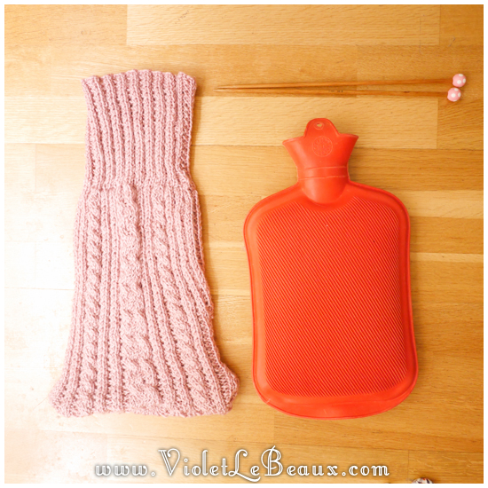 Knitting Pattern For Cable Hot Water Bottle Cover : Warm Cable Knit Hot Water Bottle Pattern Violet LeBeaux - Tales of an Ingenue