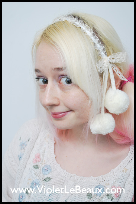 Lace and Pompom Headband Tutorial