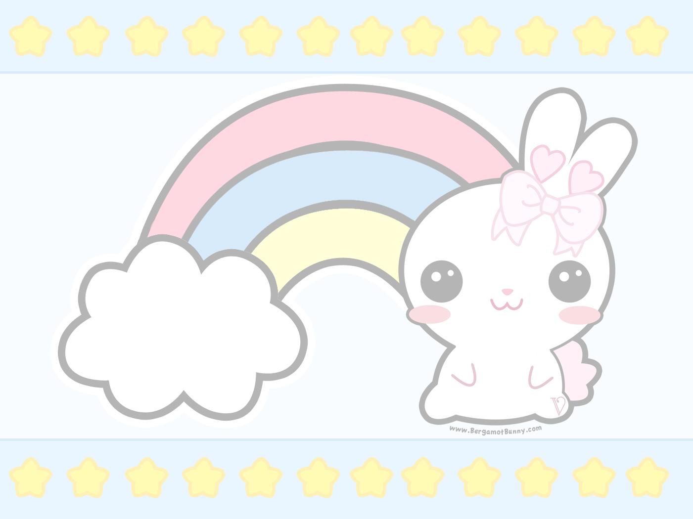 Here39s A Cute Rainbow Themed Desktop Wallpaper Bergamot Bunny