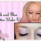 Morning Make Up- Pink and Blue Glitter Stripes