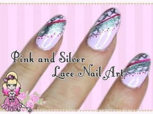 Pink and Silver Lacy Nail Art Tutorial